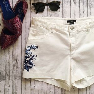 H&M Embroidered Shorts